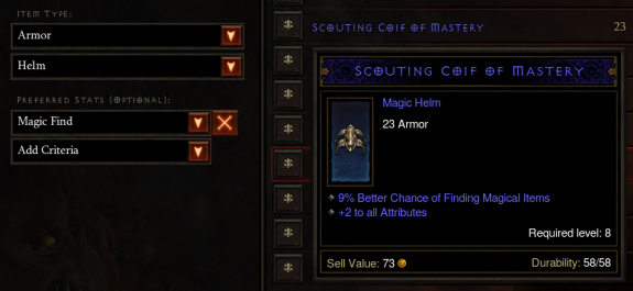 Auction House - Searching for Magic Find Gear